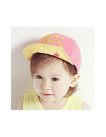 Cute Pink Letter Embroidery Decorated Color Matching Design