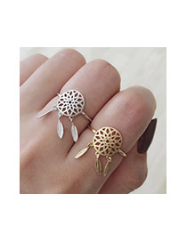 Fashion Silver Color Metal Leaf Pendant Decorated Hollow Out Opening Ring