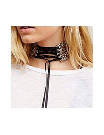 Retro Black Metal Decorated Multilayer Simple Necklace