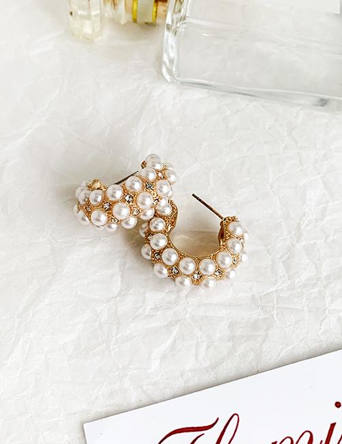 Fashion Gray Alloy Pearl Circle Earrings