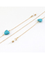 Fashion Golden Color-preserving Non-fading Peach Heart Turquoise Glasses Chain