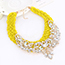 Fashion Yellow Diamond Leaf Decorated Hand-woven Collar Design