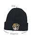 Lovely Gray Embroidery Tiger Decorated Pure Color Cap