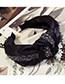 Fashion Black Diamond Cloth-encrusted Bow With Wide-brimmed Headband