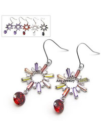 Rubber Color will be random Drops Design Czech Diamond Fashion earrings