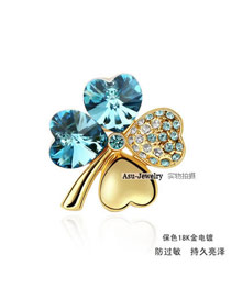 Bridesmaid sea blue Blue Brooch Alloy Crystal Brooches