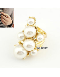 Christmas Gold Color Pearl Alloy Korean Rings
