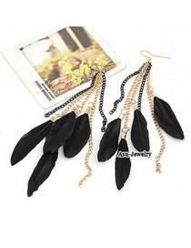 High Black Graceful Feather Charm Design Alloy Korean Earrings