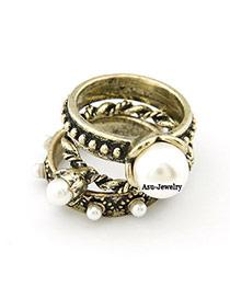 Native Bronze Multilayer Pearl Rings