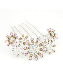 Reversible White Flower Decorated With Cz Diamond Alloy Hair clip hair claw
