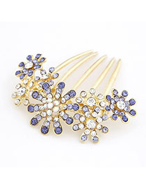 Scrapbooki Purple Luxury Fashion Flower Decorated With Cz Diamond Alloy Hair clip hair claw