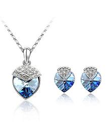 Pewter Blue Set-Strawberry Alloy Crystal Sets