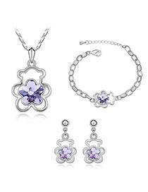 Smart Violet Set-Teddy Bear Alloy Crystal Sets