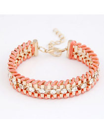 Electric Watermelon Red Metal Weave Decorated With Diamond Design Alloy Korean Fashion Bracelet