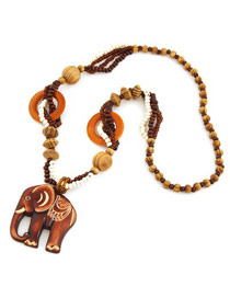 Personaliz Coffee Elephant Shape Pendant Wood Beaded Necklaces