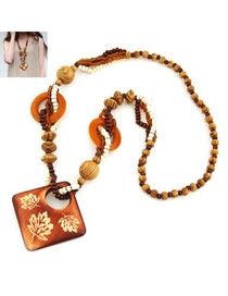Fashion Coffee Square Shape Pendant Wood Beaded Necklaces