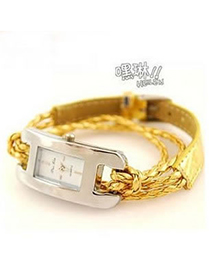 Engraved Yellow Roman Dial Leather Ladies Watches