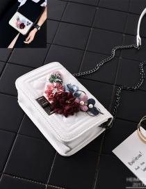 Bolsa De Hombro Del Estilo Coreano Decorado Con Flor