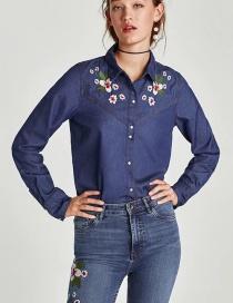 Blusa Vaquera Bordada De Flores
