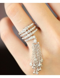 Anillo Brillante Decorado Con Borlas