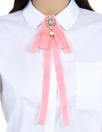 Elegant Pink Waterdrop Shape Diamond Decorated Bowknot Brooch