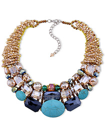 Elegant Multi-color Geometric Shape Decorated Color Matching Necklace