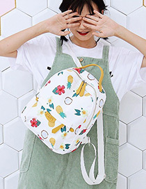 Fashion White Pineapple&bananas Pattern Decorated Backpack
