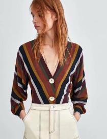 Blusa A Rayas Cuello V De Moda