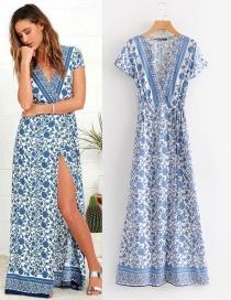 Vestido Largo De Flores Cuello V