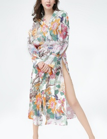 Mantón Kimono Estampado De Flores Y Pájaros.