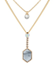 Diamond Crystal Cluster Perla Collar De Doble Capa