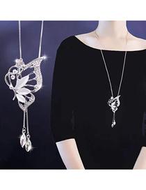 Collar De Gota De Mariposa Con Diamante Flash De Metal