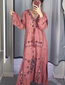 Vestido De Encaje Con Cuello En V Bordado