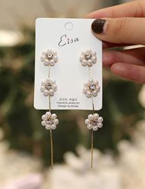 Fashion Golden Pearl Studded Flower Stud Earrings