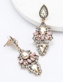 Fashion Gold Dust Geometric Diamond Earrings With Diamond Drops