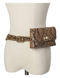Piel De Serpiente Cinturón Hebilla Solapa Cinturón Bolsa Cinturón