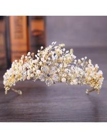 Diadema De Cristal De Flores Tejidas De Diamantes De Imitación