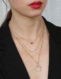 Collar De Múltiples Capas Apiladas De Piedra Natural Transparente Heterogénea De Perlas Naturales