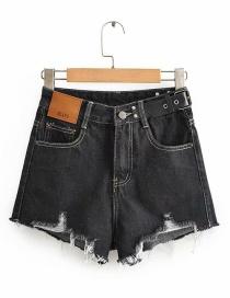 Shorts De Mezclilla Deshilachados De Cintura Alta