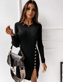 Vestido De Color Liso Con Escote Redondo Y Abertura