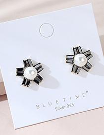 Aretes De Diamantes Con Flor De Perlas