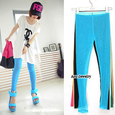 Stainless Blue Hollow Out  Design Yarn Trousers