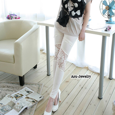 Pretty White Hook Flower Design Cotton Trousers