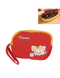 Bendable Red Lovely Pig Pattern Design Cloth Wallet