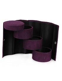 Maturnity Purple Cylinder Shape PU Jewelry box