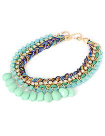 Cardboard Green Braided Rope Acrylic Drop Pendant Acrylic Beaded Necklaces