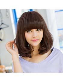 Trendy Dark Brown Middle Curly Design High-Temp Fiber Wigs