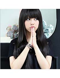 Reflective Nature Black Full Bangs In Long Straight High-Temp Fiber Wigs