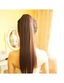 Creative Light Brown Long Straight Bind Ponytail High-Temp Fiber Wigs