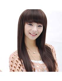 Stationary Dark Brown One-Piece Straight Design High-Temp Fiber Wigs